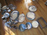 Silverplate Lot - Gravy Boat, Butter Dish, Twin Scallop Dish, Serving Platters, Pewter Dish, Etc.