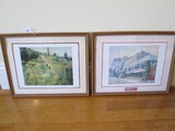 Oil on Canvas Field Scene Picture Print & Restaurant Street Scene in Wood Frames/Matt