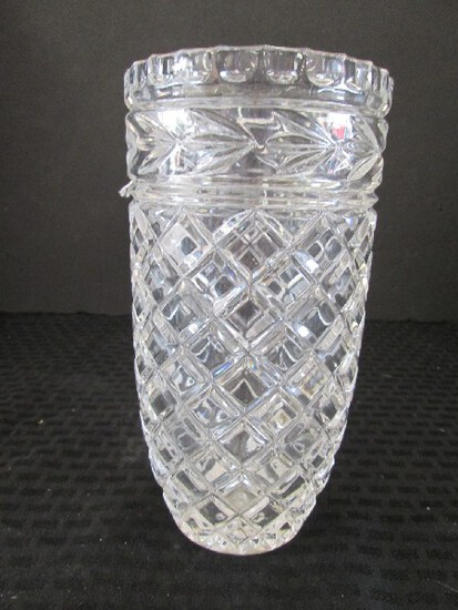Tall Vintage Crystal Glass Diamond Cut Vase, Fan Band, Star-Burst Base