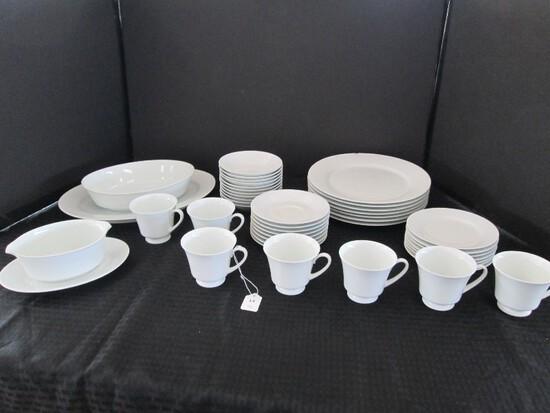 "White Ceramic Lot - 7 Plate 10 1/2"" D, 7 Bread Plates 6 3/8"" D, 11 Bowls, 8 Saucers, 7 Cups"