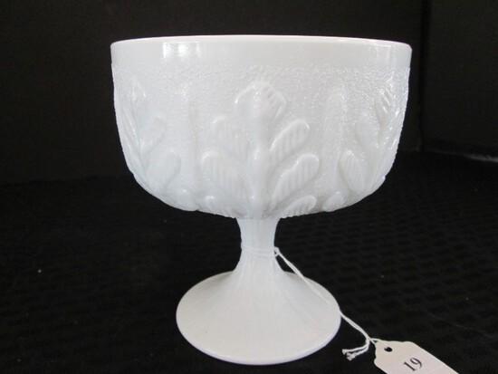 FTD © 1978 Milk Glass Tall Bowl on raised Base, Tree Pattern Rim