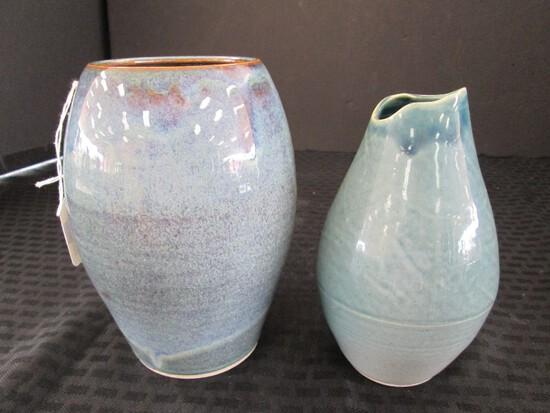 Wide Body Blue Glazed Ceramic Vase Signed Russell R.M.S. on Base