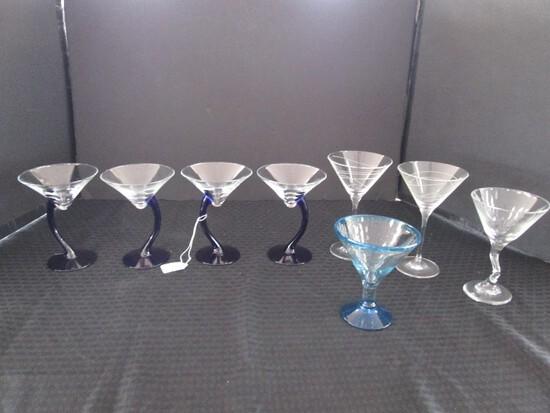 Lot - Raised Margarita Glasses, 4 Cobalt Blue Stems, 2 Swirl, 1 Blue Glass, Etc.