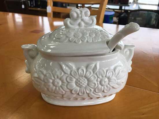 Vintage White Ceramic Sugar Dish w/ Lid 'Japan' on Base