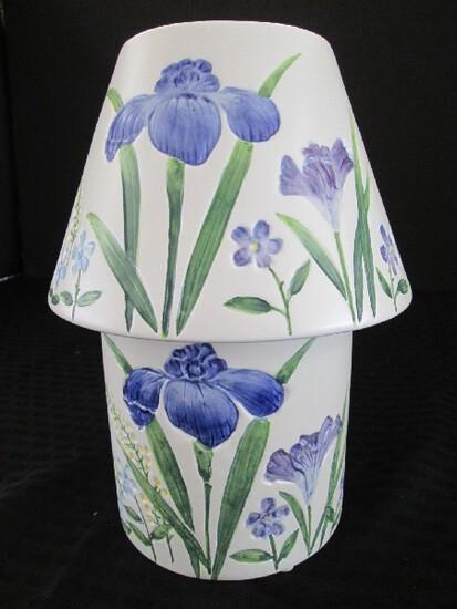 Tall Ceramic Vase Candle Lamp w/ Green/Blue Floral Motif JKL on Base