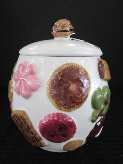 Tall Ceramic Cookie Jar w/ Biscuit Motif w/ Lid