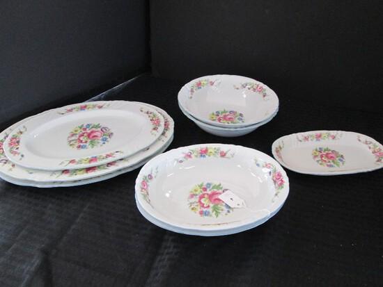 "Johann Haviland Bavaria 18 Floral Center/Band Pattern China 2 Casseroles Bowls 9 7/8"" L"