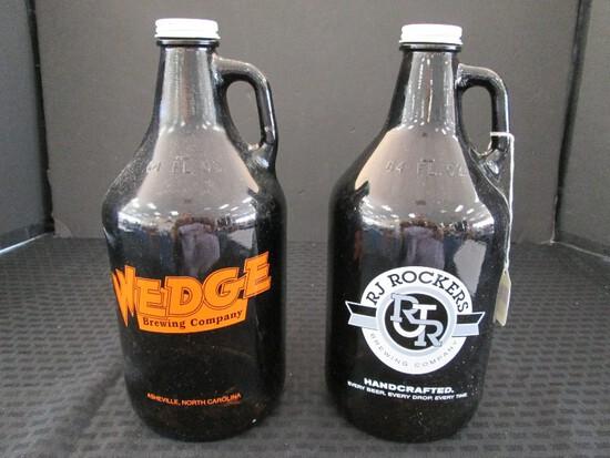 Pair - Brown Glass Growlers 64oz. RJ Rockers & Wedge Brewing Co.