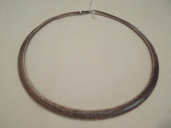Milor 925 Sterling Italy Textured Finish Omega Choker Necklace
