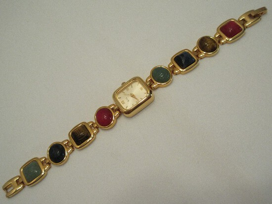 Kenneth Jay Lane Egyptian Revival Carved Scarab Collection Bracelet Watch