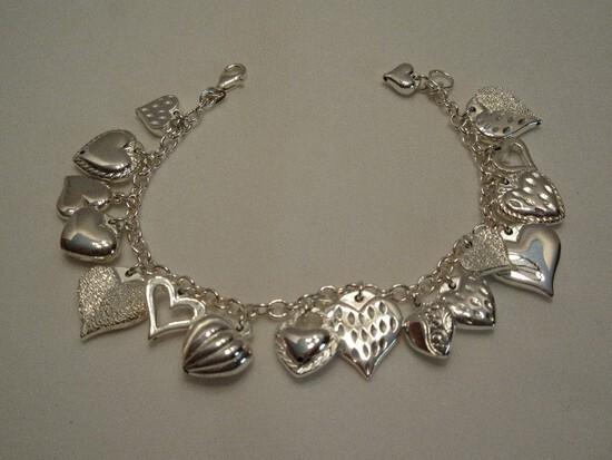 JCM Jacmel Mauritius 925 Sterling Puffy Heart Charm Love Bracelet