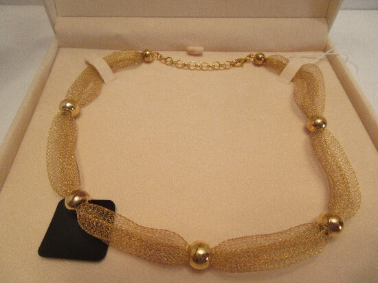 """QVC Veronese Collection 18k Clad 925 Sterling Multi-Strand Mesh 17"""" Necklace"""