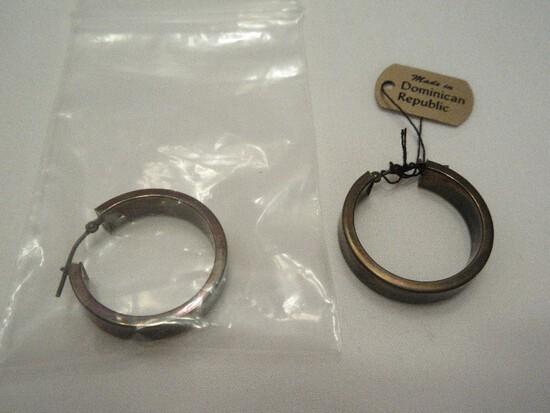 Pair - JCM Jacmel Mauritius 14k Hinged Hoop Pierced Earring