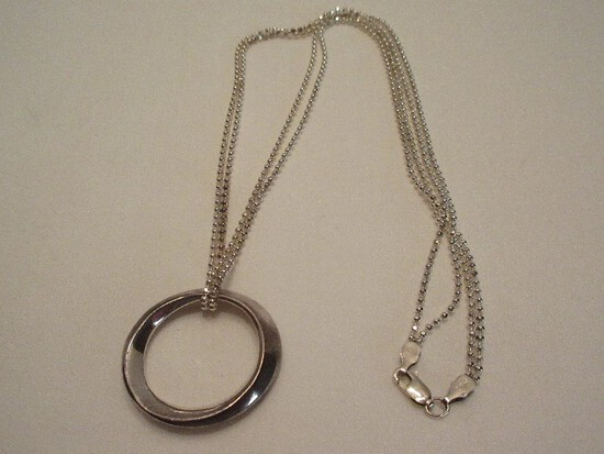 925 Sterling Dimension Hoop Design Pendant on Double Strand Bead Sterling Chain