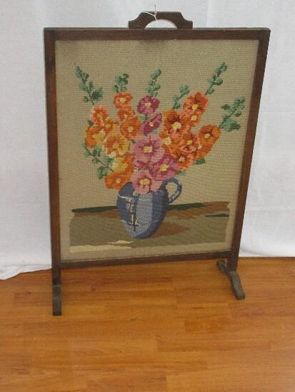 Vintage Needlework Still Life Floral Arrangement Oak Wooden Frame Fireplace Screen