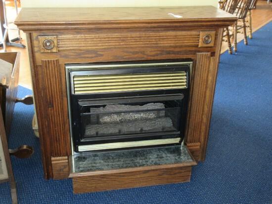 Martin Industries Inc. LP Gas Log Heater w/ Blower & Free Standing Wooden Mantle