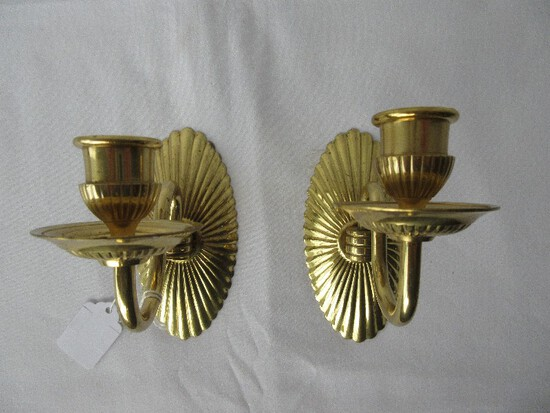 Pair - Brass Regency Style Single Candle Wall Sconces