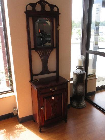 Mahogany Victorian Era Style Hall Tree w/ Beveled Mirror, Intricate Carved Pierced Design