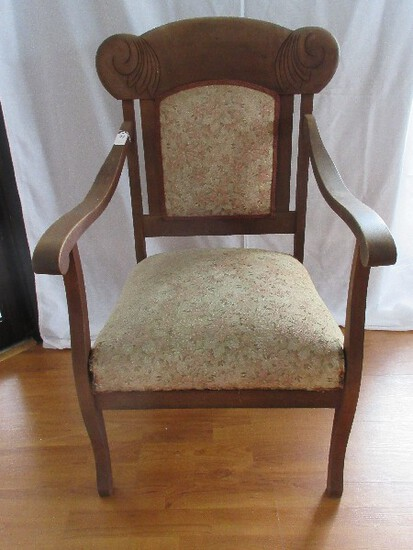 Parlor Arm Chair w/ Carved Scrolled Foliage & Upholstered Back/Seat
