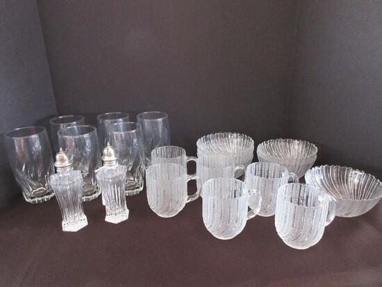 "Lot - Crystal/Glassware Mikasa Diamond Fire Pattern Salt/Pepper 6 1/4"" Shakers"