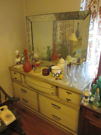 Vaughn Boss Wooden Long Dresser w/ Mirror Faded Yellow 7 Drawers, Curved Front Drawer