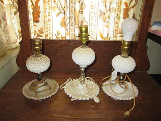 3 Vintage Milk Glass Side Lights Hobnail Globe Center w/ Bead Trim Over Dish Base