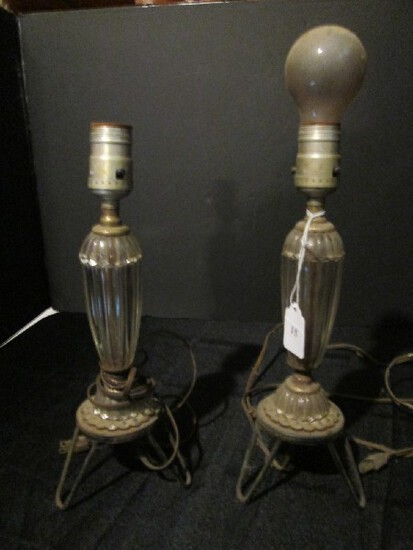 Pair - Vintage Glass Body Electric Lamps Ribbed/Bead Base on Metal Stands