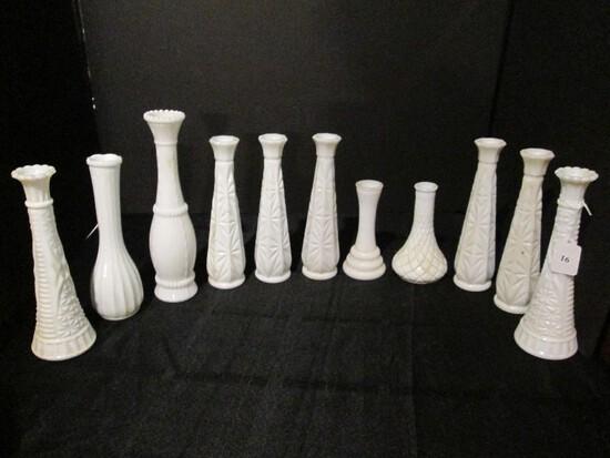 Milk Glass Lot - Bud Vase Diamond/Cross Cut Design/Motif