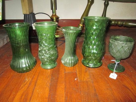 Emerald Green Glass Lot - 2 Twist Design Vases, 1 Cup Diamond Motif