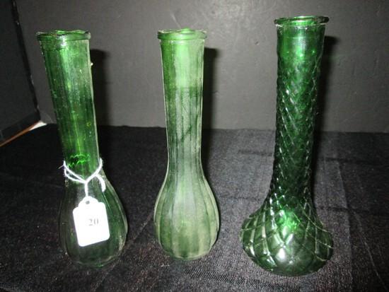 3 Tall Narrow Neck Bud Vases 2 Ribbed, 1 Diamond Cut