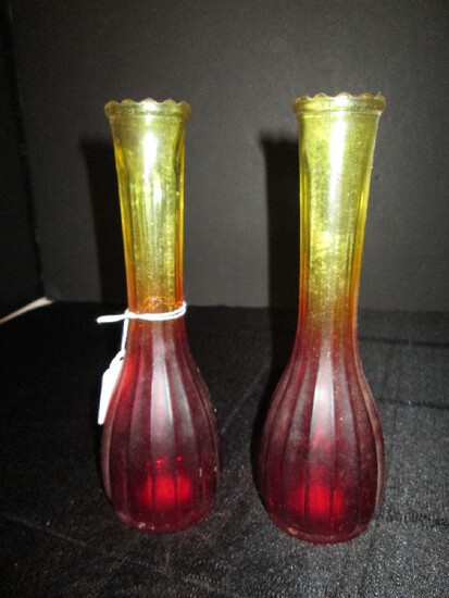 2 Ruby-To-Yellow Glass Vintage Bud Vases Ribbed Design