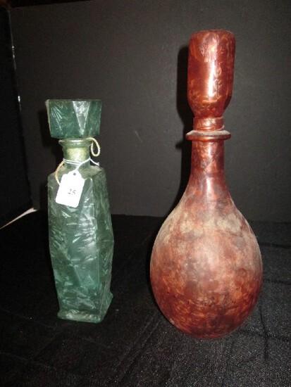 Lot - Green Glass Print Tall Bottle w/ Lid & Wide Body/Narrow Neck Bottle w/ Lid