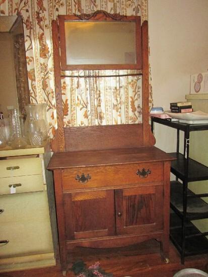 Vintage Wooden Washboard Raised Square Mirror, Towel Rack, 1 Drawer w/ 2 Doors