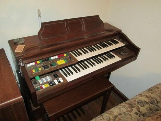 Vintage Wooden Player Organ Yamaha Fabric Lower Half w/ Bench w/ Open Top Storage