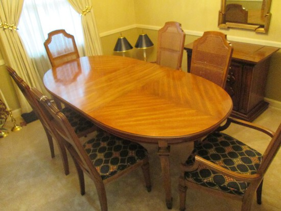 Wooden Long Dining Table w/ Extension Curved Ends w/ 6 Chairs 2 Host, 4 Sides