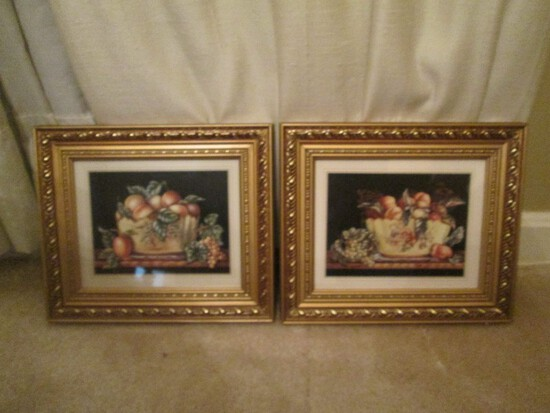 Pair - Fruit in Bowls Picture Prints in Ornate Teardrop/Bead Trim Wood Frames/Matts