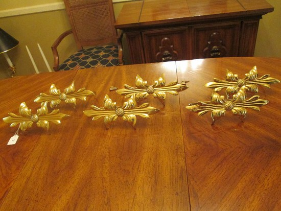 6 Brass Floral Design Curtain Holders