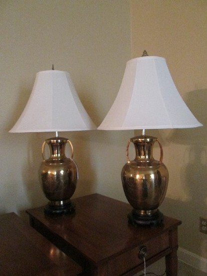 Pair - Wide Urn Vase Brass Body Lamps w/ Cut Rooster/Flower Design Motif, Black Wood Base