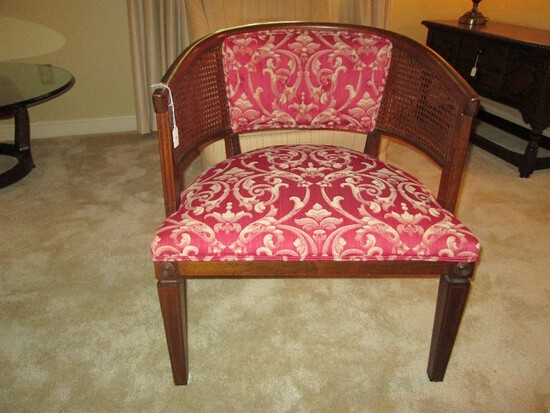 Wooden Curved Back Chair Wicker/Upholstered Red/Yellow Curled, Grooved Narrow Legs