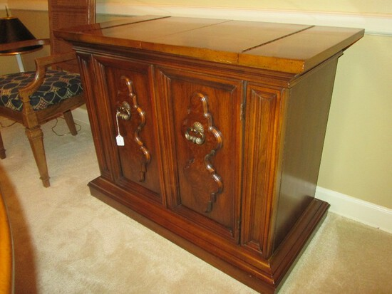 Wooden Buffet Cabinet Folding Open Top, 2 Doors w/ 1 Inlay Drawer, Dovetailed