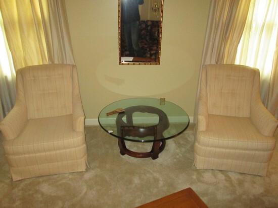 Sherrill Furniture Pair - Tan/Green/Red Stripe Arm Chairs, Pin Back Cushion