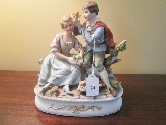 "Ardalt Lenwhile China 9"" H Men/Women Ceramic Porcelain Décor on Base"