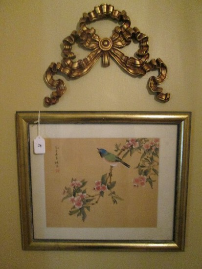 Vintage Chinese Paint on Silk Bird in Cherry Blossom Branch in Gilted Wooden Frame/Matt