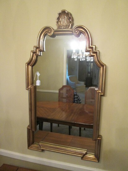 Gilted Wooden Frame Wall Mounted Mirror Scallop Top Curled To Block Design