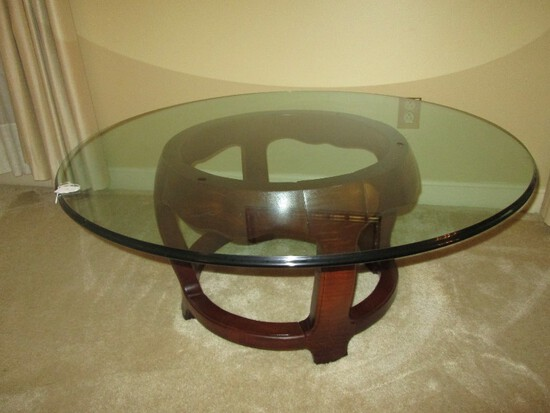 Glass Top Round Coffee Table w/ 2 Tier Wood Base Bracket Skirt Pad Feet