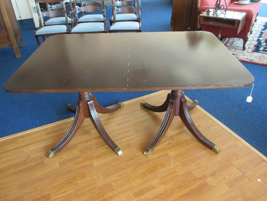Duncan Phyfe Style Mahogany Double Pedestal Table w/ Brass Cap Feet