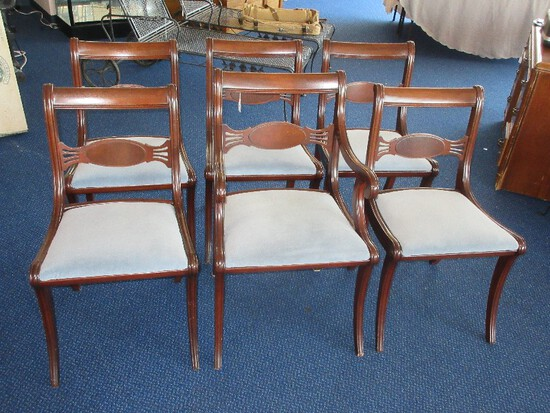 Set - 6 Mahogany Duncan Phyfe Style Traditional Design Dining Chairs w/ Upholstered Seats