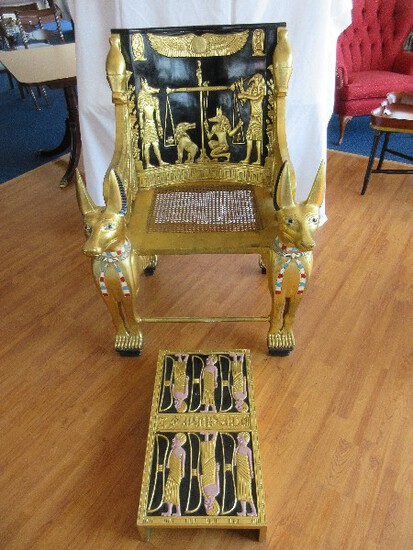 Super Rare Find Egyptian Neoclassic Revival Throne Chair w/ Foot Rest