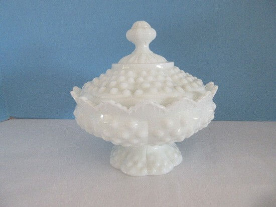 Fenton Milk Glass Hobnail Pattern Low Footed Candy Box w/ Lid