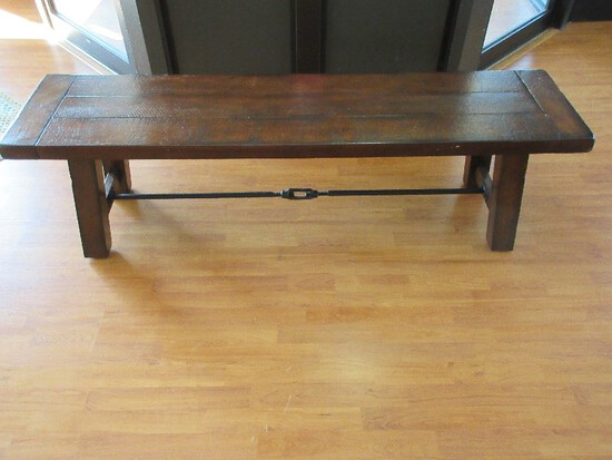 Pottery Barn Benchwright Collection Rustic Mahogany Finish Bench